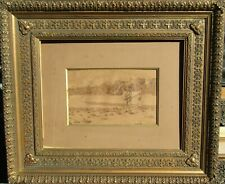 Att. Winslow Homer Two Men on Beach? Signed Antique Watercolor & Ink Painting NR