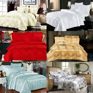 Luxury Printed Floral Complete Bedding Set Duvet Cover+Fitted Sheet Double King