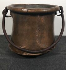 Antique Copper Hammered Cauldron Kettle Candy Preserve Pot Iron Handle PLZ READ