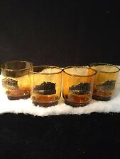 VTG Cocktail Glasses Mid Century 8 OZ Tumblers High Ball /Juice 4/Man Cave GOLD!