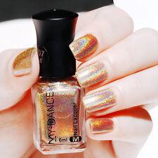 6ml Nail Polish Holographic Shiny Nail Art Manicure Holo Polish Varnish Gold