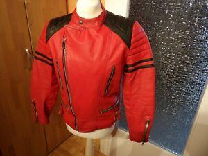 Moto Cuir 80er 90er Jahre Motorrad Lederjacke Bikerjacke Ducati-Rot Used Gr. 52