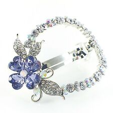 USA BARRETTE Rhinestone Crystal Hair Clip Hairpin Elegant Flower Purple B08