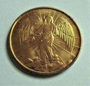 Goldtone Guardian Angel Token, Pocket Charm , Medallion