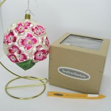 Smith & Hawken Pink Hydrangea Blown Glass Ornament and Box Germany Garden Flower