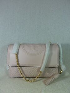 NEW Tory Burch Shell Pink Leather Fleming Convertible Bag $498