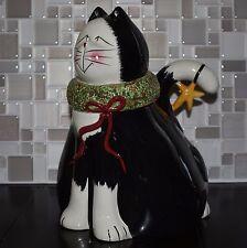 Sakura Holiday Christmas Cats Fiddlestix Earthenware Black White Cat Cookie Jar