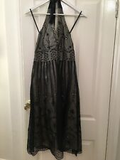 New Monsoon Black Silk Halter Neck Dress Size 12 With Tags