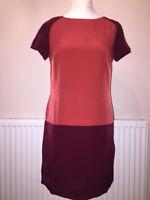 KAREN MILLEN RED COLOUR BLOCK SHIFT DRESS SIZE UK 10,12 RRP £125