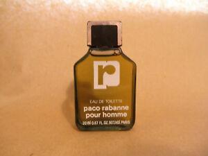 Vintage Paco Rabanne Pour Homme Eau de Toilette Splash 20 ml Paris NOS