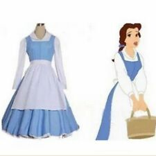 Adult Beauty and the Beast Belle Blue Maid Dress Cosplay Costume Party Dress