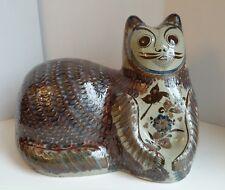 Huge artist SIGNED TONALA MEXICAN Pottery CAT High Fired  WILMOT Era Stoneware
