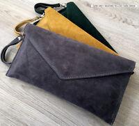 Dark Grey Wedding Clutch Bag Evening Bag Over Size Envelope Suede Made in Italy