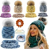 Set Scarf Or Hat Women Winter Alpaca Wool Knitted Beanie Hat Fleece Pom Pom Hats