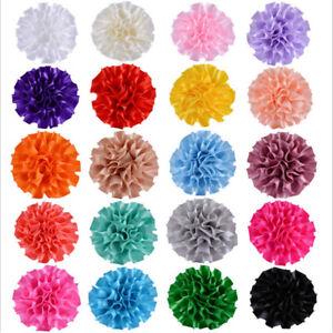 5/25/50pcs Big Peony Flower Satin Ribbon Appliques/craft/Wedding decoration