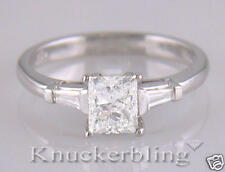 Diamond Platinum Solitaire Engagement Ring 0.89ct Princess Cut Certified D IF VG