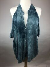 Gypsy 05 XS Rayon Tie Dye Blue Cold Shoulder V Neck Button Front Blouse Top