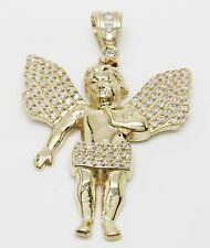 """10k Stamped Yellow Gold Baby Angel Pendent 7.28 Grams  2.4"""" L"""