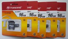 Transcend 16GB Lot of 5 MicroSDHC Memory Card + Adapter New Sandisk + Promotion