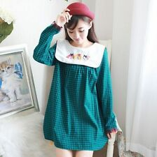 Women Embroidered Collar Gingham Lolita Preppy Cute Dress