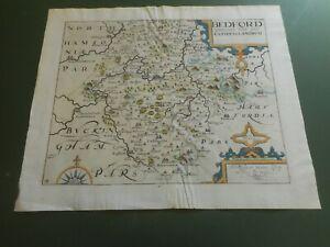 100% ORIGINAL BEDFORDSHIRE MAP BY SAXTON KIP C1637 SCARCE HAND COLOURED