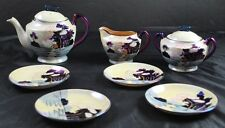 Vintage Lot Of 7 Teapot Creamer Sugar 4 Saucers Hand Painted Trico Nagoya Japan