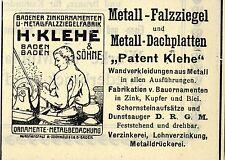 H.Klehe Baden-Baden METALL-FALZZIEGEL-DACHPLATTEN Historische Reklame von 1912
