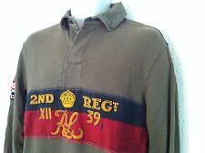 Polo Ralph Lauren Shirt Dk Olive LS Black/Red/Gold Center Size M NWT