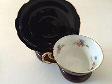 Spencer Stevenson China Royal Stewart Floral Black Gold - TEA CUP & SAUCER SET