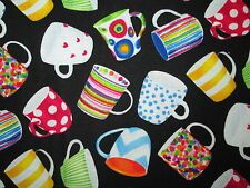 MOD COFFEE CUPS DRINKS BRIGHT COLORS COTTON FABRIC FQ