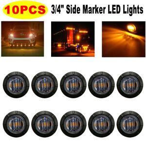 10pcs Mini Smoked Round 3/4'' LED Light for Boat Truck Trailer Side Marker Light