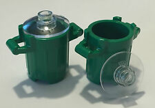 *NEW* 2 Pieces Lego Trash Can Dust Bin GREEN 2x2x2 with TRANS CLEAR LIDS