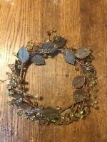 Hard Plastic Carved Acrylic Grapes On Circular Wreath With Leaves