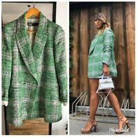 ZARA NEW CHECK GREEN COAT SIZE XS