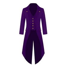 Men Swallowtail Tailcoat Pant Long Sleeve Costume Suit Jacket Lapel Wedding Coat