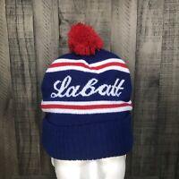 Vintage Labatt Blue, Canadian Beer, Pom Style Winter Knit Hat Red White Blue