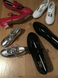Dance Depot PU Low Heel Silver, Red Or Black Tap Shoes - Girls, Ladies, Womens