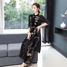 2pcs Womens Gold Velvet Floral Long Dress Ladies Suits Wide Legs Trousers Pants