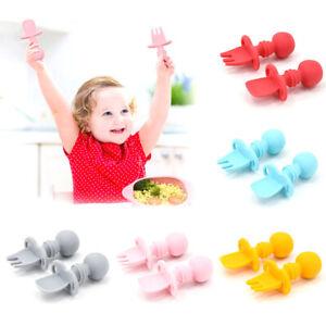 Baby Training Fork Spoon Set Silicone Feeding Tableware Newborn Teether Utensils