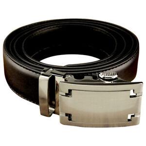 Men's Black Leather No Hole One-Belt, Steel Buckle, Ratchet Mechanism Tight Fit.