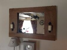 A Handcrafted  Rustic Timber Mirror With Wrought Iron Sconces