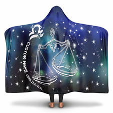 Personalized Libra Horoscope Zodiac Star Sign Hooded Blanket