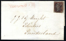 1841 1d red-brown on cover from Newcastle to Sunderland . . .
