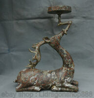 """13.2 """"Vieux Chinois Bronze Ware Dynastie sika cerf Statue Bougeoir Chandelier"""