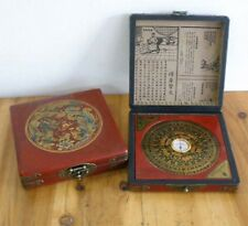 Collectable Oriental Vintage Handwork Wood Leather Dragon Phoenix jewelry Box