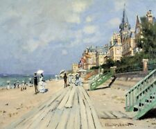 Beach at trouville by Claude Monet Giclee Fine Art Print Reproduction on Canvas