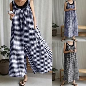 Summer Women Strap Plaid Sleeveless Playsuit Jumpsuit Long Wide Leg Bib Trousers