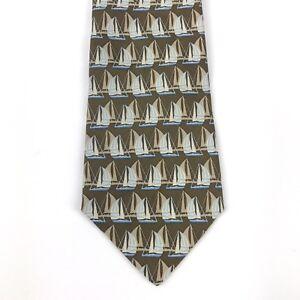 Banana Republic Khaki Brown & Blue Sail Boat Novelty Print Classic Silk Necktie
