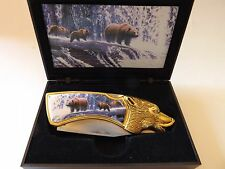 """KNIFE WITH 3 BEARS ON HANDLE Overall lenght 8"""" blade 3 1/2"""" with case"""