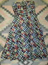 J CREW CHECK PLAID DIAMOND SHAPE PATCHWORK STRAPLESS SWING DRESS WOMEN SZ 0